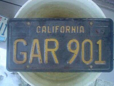 California 1963 black and yellow License Plate for your chevy ford gmc