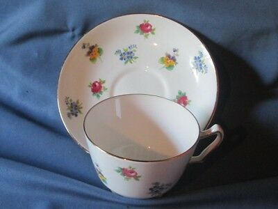 Vintage CROWN STAFFORDSHIRE England Bone China Floral Pattern Cup and Saucer
