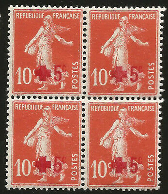 1914 France First Red Cross Semi-Postal Block of Four Mint Never Hinged StampsB1