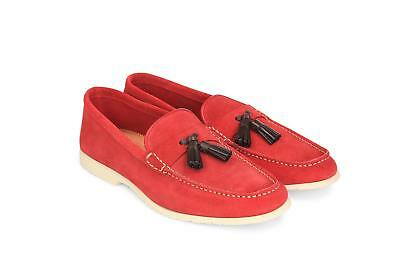 0c93e1a2548 NEW GUCCI MEN S 407411 Red Suede Green Red Web Drivers Loafers Shoes ...