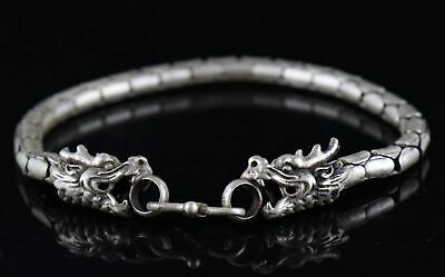 Collect Old Tibet Silver Carve Snake Body & Dragon Head Unique Amulet Bracelet