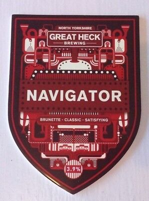 GREAT HECK brewery NAVIGATOR cask ale beer pump clip badge front Yorkshire
