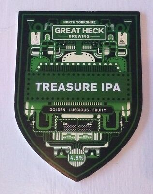 GREAT HECK brewery TREASURE IPA cask ale beer pump clip badge front Yorkshire