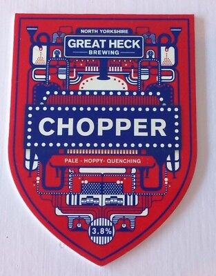 GREAT HECK brewery CHOPPER cask ale beer pump clip badge front Yorkshire