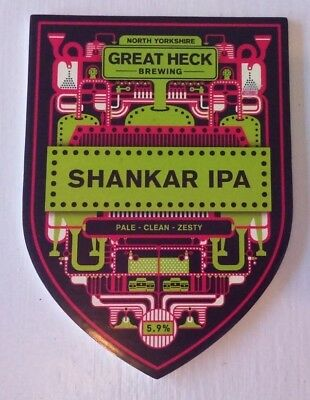 GREAT HECK brewery SHANKAR IPA cask ale beer pump clip badge front Yorkshire