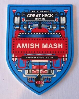GREAT HECK brewery AMISH MASH cask ale beer pump clip badge front Yorkshire
