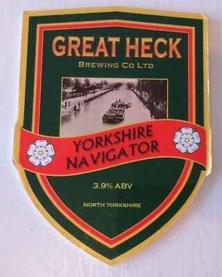 GREAT HECK brewery YORKSHIRE NAVIGATOR cask ale beer pump clip badge front Yorks