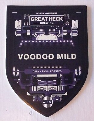 GREAT HECK brewery VOODOO MILD cask ale beer pump clip badge front Yorkshire
