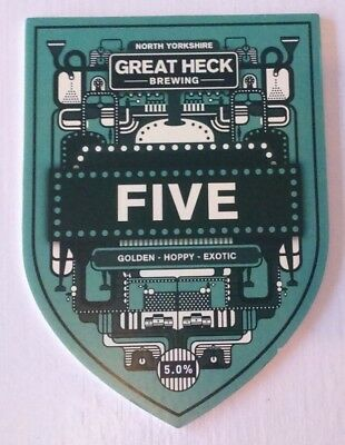 GREAT HECK brewery FIVE cask ale beer pump clip badge front Yorkshire