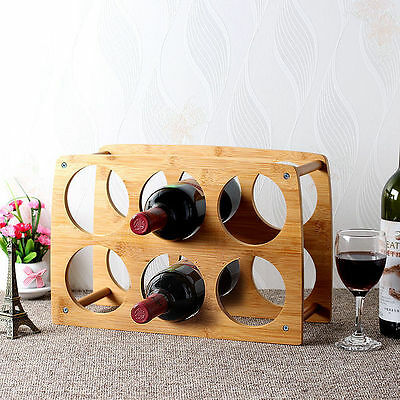 Bamboo Wine 6 Bottle Rack Storage Holder Wood Shelf Cellar Decor Liquor Display