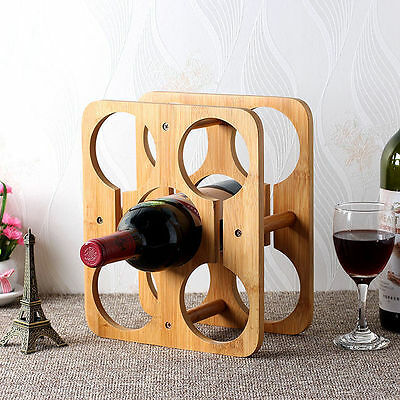 Bamboo Wine 5 Bottle Rack Storage Holder Wood Shelf Interior WoodenOrganizer vee