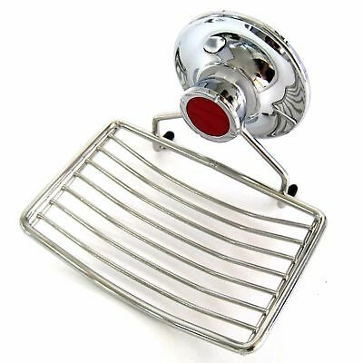 Stainless Wire Soap Dish Tray Vacuum Suction Cup Holder Bathroom Wall Attachment