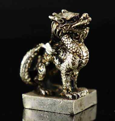 Collect Old Tibet Silver Carve Ancient Myth Kylin Exorcism Amulet Seal Statue