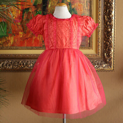 61c9e25a1 RACHEL RILEY GIRLS Coral Tulle Easter Dress Size 5 FIREFLIES CHASING ...