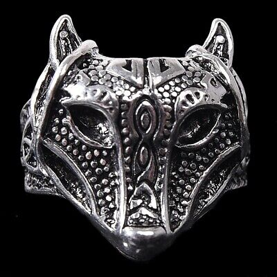 Mens Retro Ring Viking Nordic Wolf Thor Hammers Punk Rock Finger Rings Band Gift