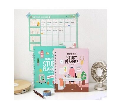 1EA Mint / Pink Indigo For 1 Year Monster Study Planner semesterdiary Exam Note