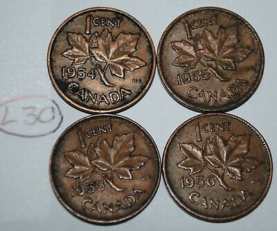 Canada 1953 NSF, 1954 SF, 1955 SF, 1956 1 Cent One Canadian Penny Coin Lot #L30