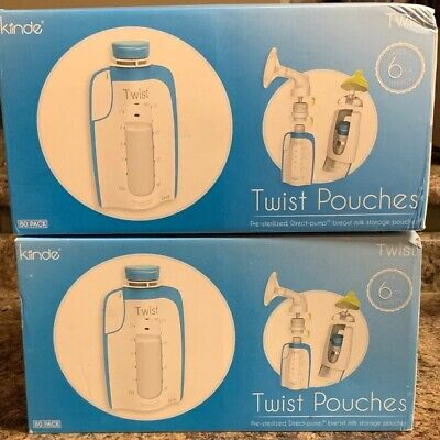 Kiinde Breast Milk Storage Twist Pouch 6Oz Pack Of 80 Brand New Lot Of 2