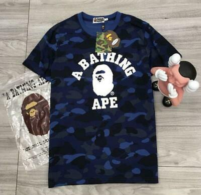 a9728dc44428 Fashion Men s bape Camo Monkey A Bathing ape Summer T-Shirts Blue Medium