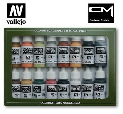 Vallejo Model Color 70.107 WWII German Color Set 16x17ml Acrylic Paints + Chart