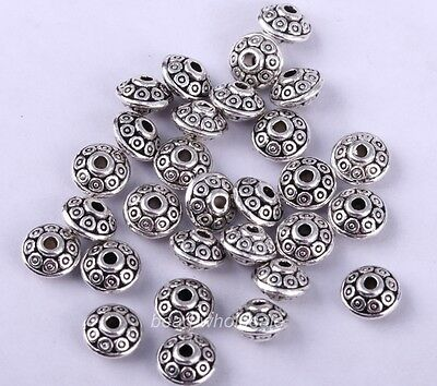 100pcs Antique Fashion Tibetan Silver Spacer Beads 6.5mm For Jewelry Making hi