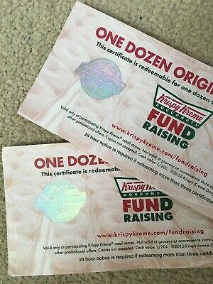 KRISPY KREME CERTIFICATES- Each One Redeems A Free Original Glaze Dozen-50%off