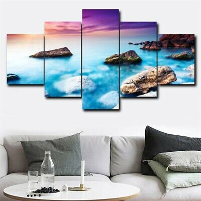 5Pcs Seaside Sunset Oil Wall Painting HD Canvas Art Picture Modern Home Decor