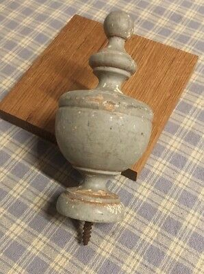 "ANTIQUE FRENCH WOOD POST FINIAL END CAP Salvaged architectural Piece 4"" Tall"