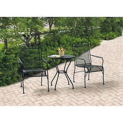 3 Piece Patio Furniture Set Dining Table Chairs Iron Bistro Outdoor Garden Black