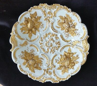 Meissen Plate Rococo Period heavily patterned Gold Plating.