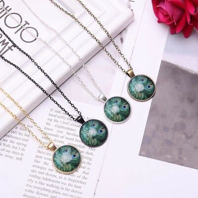 Vintage Style Glass Pendant Turquoise Blue Green Peacock Feathers Necklace Gift