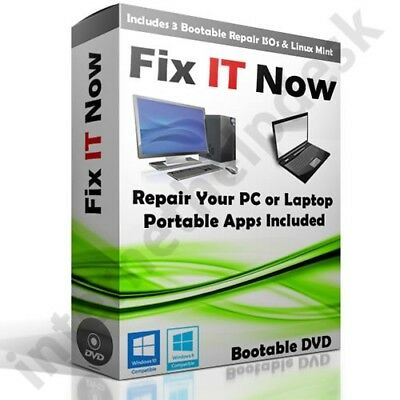 Complete Windows Computer Repair & Recovery Disk Kit For 7 & XP 8 Vista 10