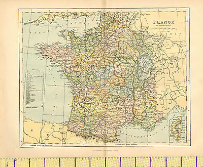 c1880 MAP ~ FRANCE IN DEPARTMENTS ~ PROVINCES ARTOIS SAVOY NICE NORMANDY etc