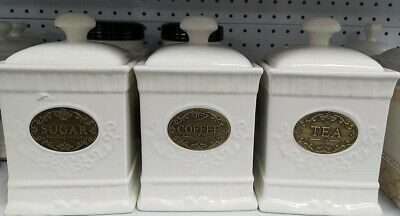 18.5cm Vintage Set of 3 Ceramic Kitchen Tea/Coffee/Sugar Canisters