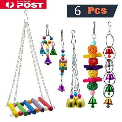 6Pcs/set Parrot Hanging Swing Bird Toy Harness Cage Toys Parakeet Cockatiel Toy