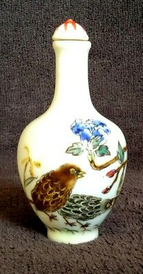 CHINESE FAMILLE ROSE SNUFF BOTTLE 19thC HAND PAINTED WITH BIRDS & FLORAL