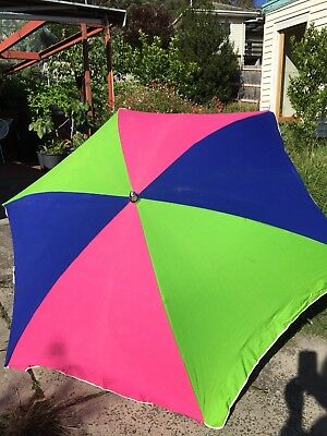 Vintage 1970's Standfast Colourful Beach Umbrella ~ Bright ~ Minimal Use
