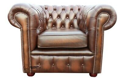 Chesterfield Buttoned Low Back Club Chair Armchair Antique Brown Leather