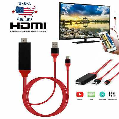 HDMI Mirroring Cable Phone to TV HDTV Adapter For iPhone X/XS Max/7/8 Plus/iPad