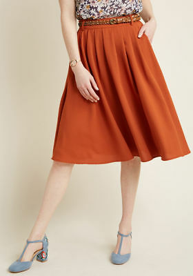 42adf00c5 NWT ModCloth XL Breathtaking Tiger Lilies Belted Midi Skirt in Rust Orange