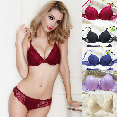 5d0d7eaa59d6b Sexy Embroidery Lace Extreme Push Up Underwear Padded Bra Set Plunge Bra  Sets