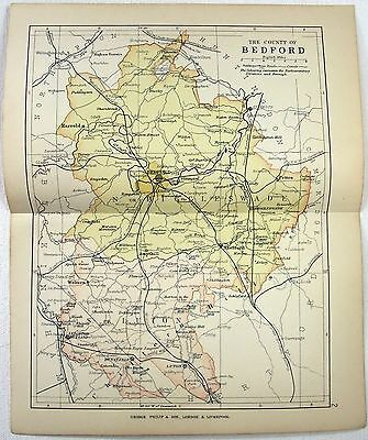 Original 1892 Map of The County of Bedford England by G. Philip & Son. Antique