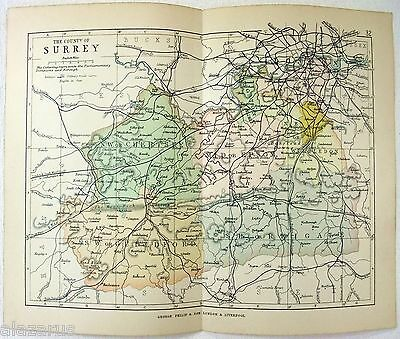Original Philips 1892 Map of The County of Surrey, England. Antique