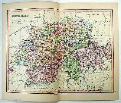 Original Map of Switzerland by Wm Collins Sons & Co 1875. Antique