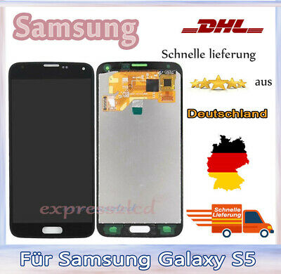 Für Samsung Galaxy S5 SM-G900F LCD Display Touch Screen Glas Bildschirm Schwarz