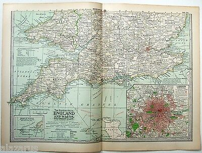 Original 1902 Map of The Southern Parts of England & Wales. Antique