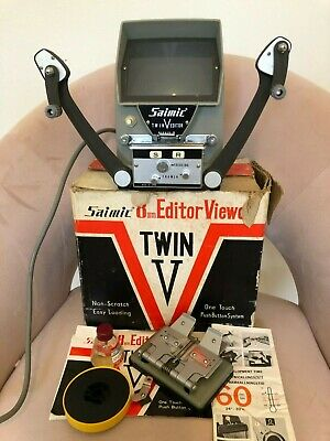 SAIMIC 8mm TWIN V EDITOR MOVIE VIEWER VIDEO FILM Vintage 1960s w Manual