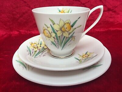 1950's First Issue ROYAL ALBERT 'Flower of the Month' MARCH, DAFFODIL, Tea Trio