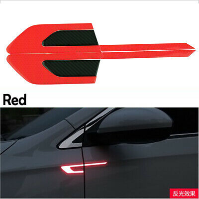 Set Red Car Universal Fender Reflective Sticker Security Warning Graphic Decal
