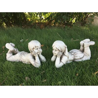 Lying Down Girl & Boy/Reading Girl & Boy Garden Statue Outdoor Decoration